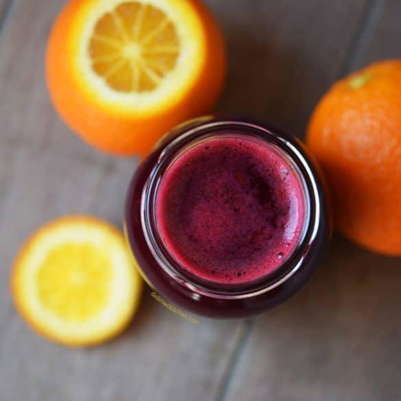Zumo de remolacha, naranja y cúrcuma
