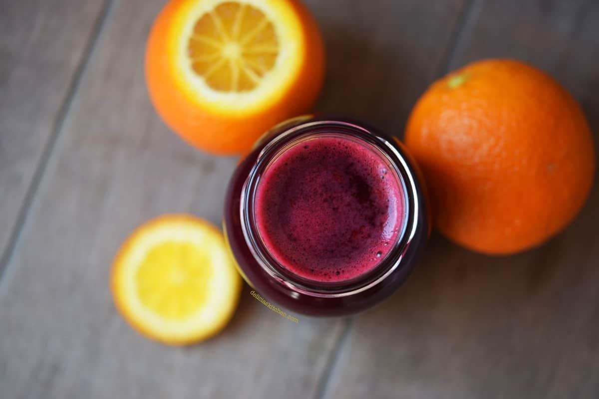 Zumo de remolacha y naranja