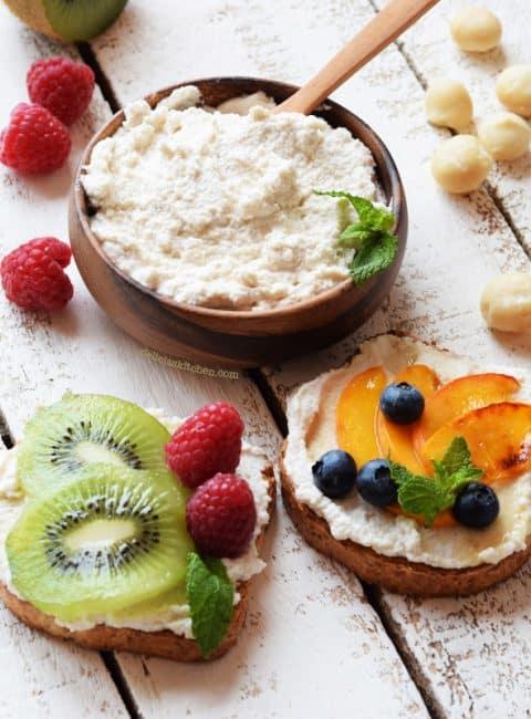 Requesón o ricotta vegetal dulce de macadamias
