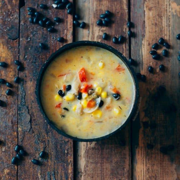 Sopa de choclo con frijoles