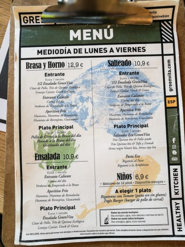 GreenVita Menu