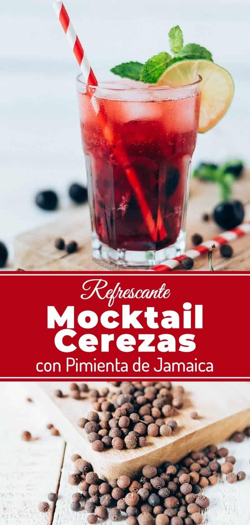 Mocktail de cerezas y pimienta de Jamaica