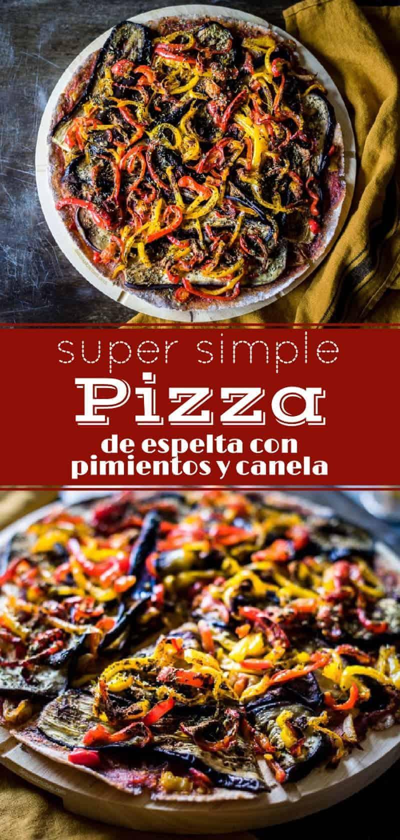 Pizza de berenjenas, pimientos y canela