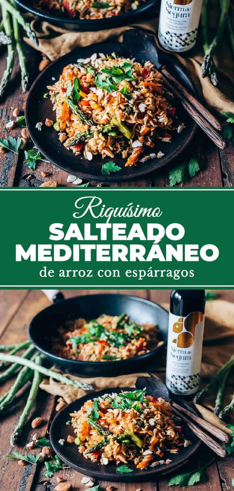 Salteado mediterráneo de arroz con espárragos
