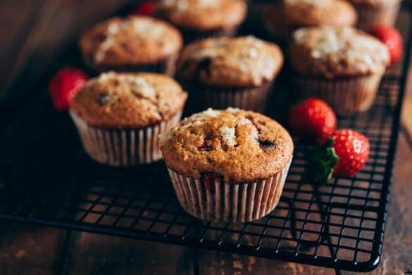 Muffins de fresa veganos