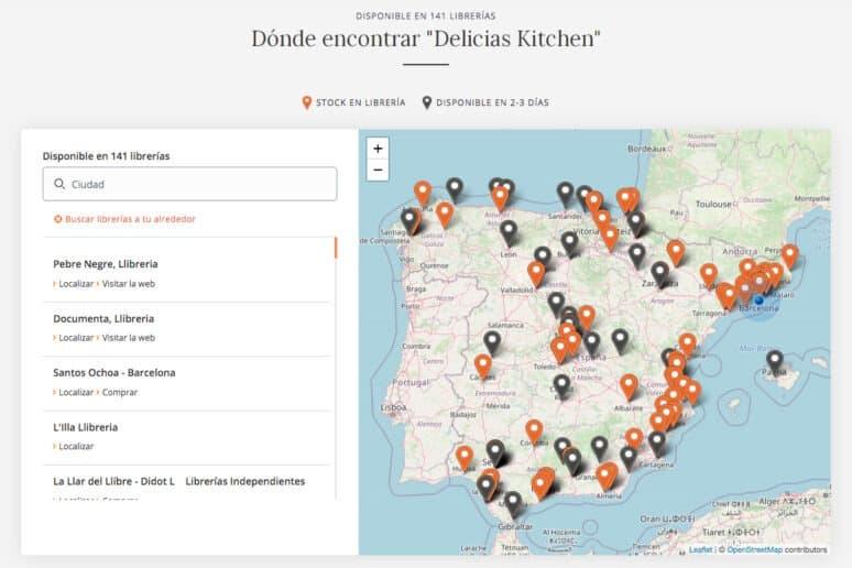 Mapa Librerías Libro Delicias Kitchen