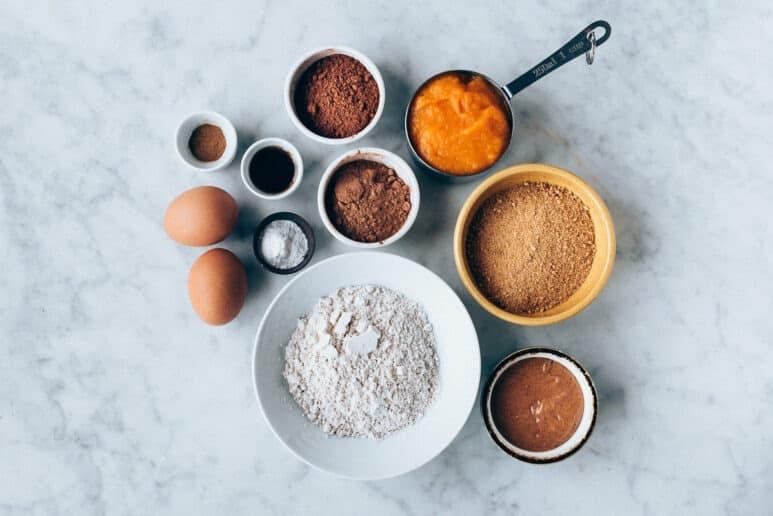 Ingredientes bizcocho de calabaza y chocolate