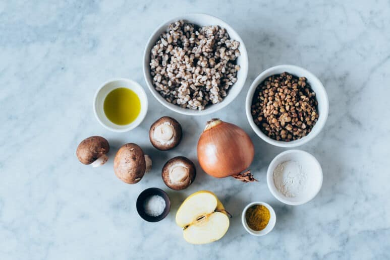 Ingredientes hamburguesa de lentejas