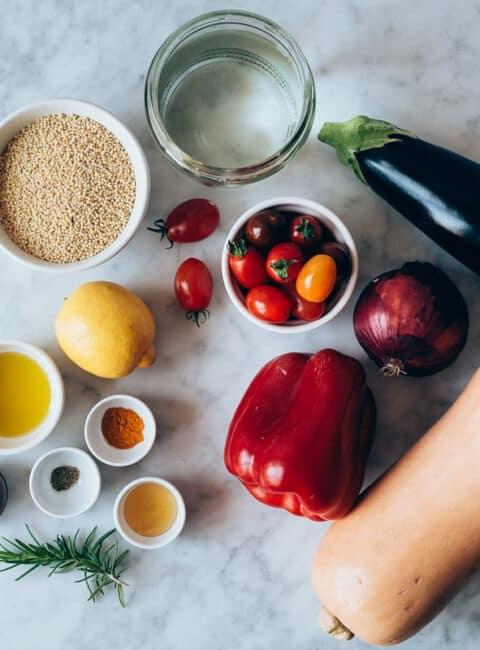 Mijo con verduras y aliño de cúrcuma