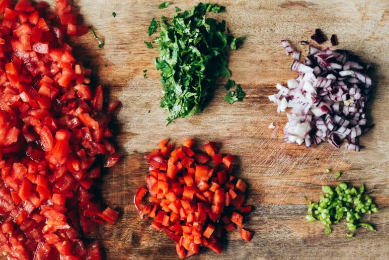 Ingredientes picados salsa fresca